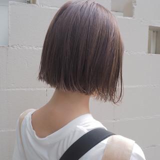 デート ボブ ナチュラル ハイライト ヘアスタイルや髪型の写真・画像