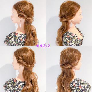 リラックス ヘアアレンジ ロング 簡単ヘアアレンジ ヘアスタイルや髪型の写真・画像