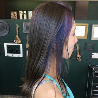 ストリート パープル セミロング インナーカラー ヘアスタイルや髪型の写真・画像 ヘアスタイルや髪型の写真・画像