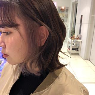 ボブ ストリート ダブルカラー インナーカラーパープル ヘアスタイルや髪型の写真・画像