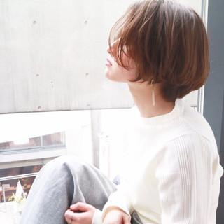 ハンサムショート ミニボブ ヘアアレンジ 小顔ショート ヘアスタイルや髪型の写真・画像