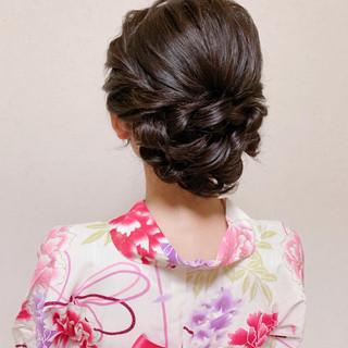 ミディアム 浴衣ヘア ヘアアレンジ 簡単ヘアアレンジ ヘアスタイルや髪型の写真・画像