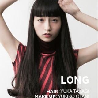ロング ワイドバング 暗髪 アンニュイ ヘアスタイルや髪型の写真・画像