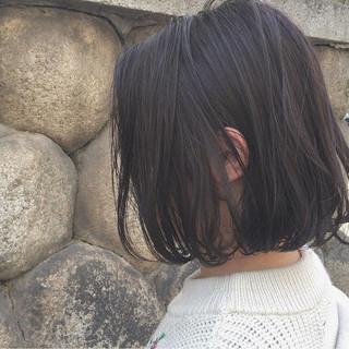 黒髪 切りっぱなし ボブ 外国人風 ヘアスタイルや髪型の写真・画像