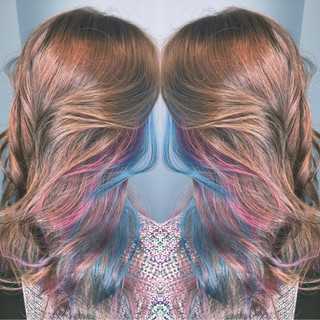 ロング リラックス ストリート メッシュ ヘアスタイルや髪型の写真・画像