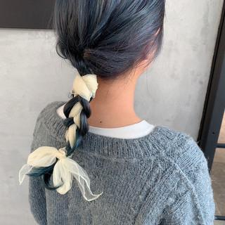 簡単ヘアアレンジ ヘアアレンジ ストリート ブルーアッシュ ヘアスタイルや髪型の写真・画像