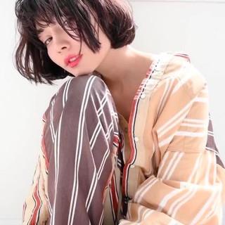 ナチュラル ボブ ミニボブ シースルーバング ヘアスタイルや髪型の写真・画像