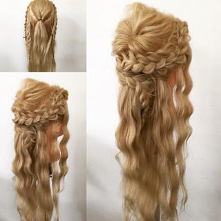 ロング 編み込み ヘアアレンジ 大人かわいい ヘアスタイルや髪型の写真・画像