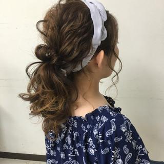 大人かわいい ゆるふわ ポニーテール セミロング ヘアスタイルや髪型の写真・画像