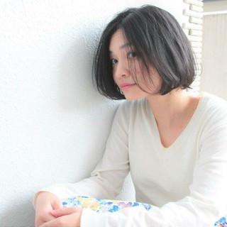 アンニュイ ロブ 黒髪 ゆるふわ ヘアスタイルや髪型の写真・画像
