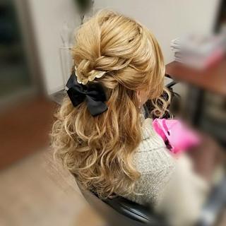 編み込み ハーフアップ セミロング ヘアアレンジ ヘアスタイルや髪型の写真・画像