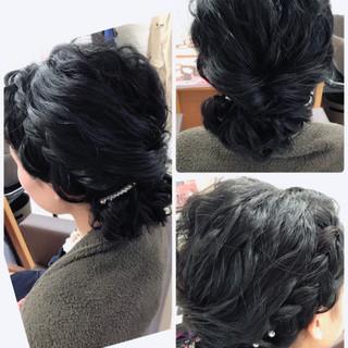 ナチュラル ヘアアレンジ シニヨン セミロング ヘアスタイルや髪型の写真・画像