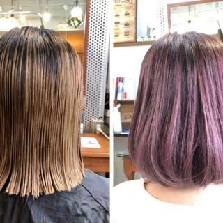 ピンク ミニボブ 切りっぱなしボブ ラベンダーピンク ヘアスタイルや髪型の写真・画像