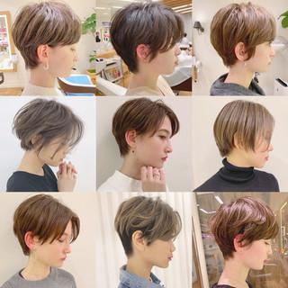 パーマ オフィス ショート デート ヘアスタイルや髪型の写真・画像