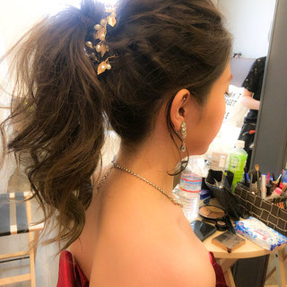 結婚式髪型 結婚式ヘアアレンジ 簡単ヘアアレンジ エレガント ヘアスタイルや髪型の写真・画像