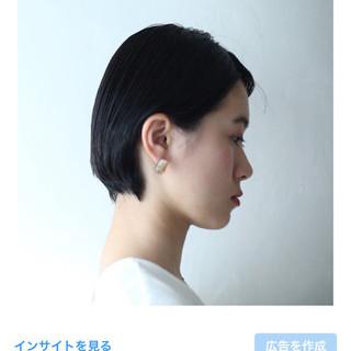 ウェットヘア ナチュラル 黒髪 ショート ヘアスタイルや髪型の写真・画像
