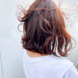 オレンジカラー ヌーディベージュ オレンジベージュ ボブ ヘアスタイルや髪型の写真・画像