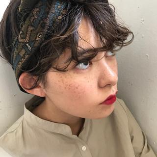 ショート パーマ ヘアアレンジ 簡単ヘアアレンジ ヘアスタイルや髪型の写真・画像