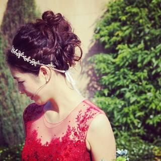 セミロング ヘアアレンジ カチューシャ 振袖 ヘアスタイルや髪型の写真・画像