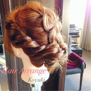 編み込み ねじり ヘアアレンジ ヘアスタイルや髪型の写真・画像