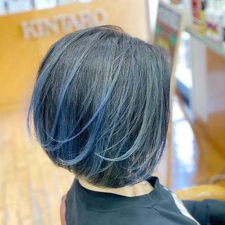 フェミニン ボブ バレイヤージュ ブルー ヘアスタイルや髪型の写真・画像