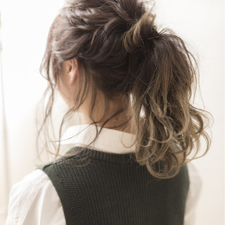 ゆるふわ ショート ヘアアレンジ ミディアム ヘアスタイルや髪型の写真・画像