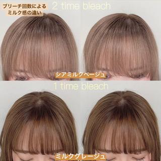 ミルクティー ミディアム ヘアアレンジ ミルクティーベージュ ヘアスタイルや髪型の写真・画像