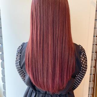セミロング ガーリー ピンクアッシュ デート ヘアスタイルや髪型の写真・画像