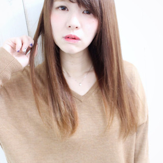 ストレート 縮毛矯正 グラデーションカラー ロング ヘアスタイルや髪型の写真・画像