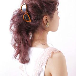 簡単ヘアアレンジ ゆるふわ ヘアアレンジ ミディアム ヘアスタイルや髪型の写真・画像