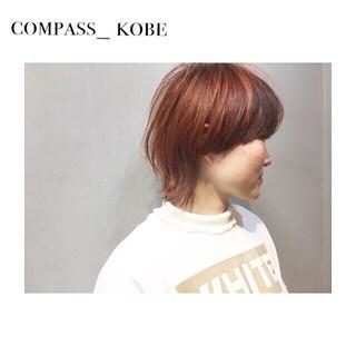 ナチュラル こなれ感 アプリコットオレンジ ボブ ヘアスタイルや髪型の写真・画像