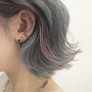 ストリート ボブ 外国人風カラー インナーカラー ヘアスタイルや髪型の写真・画像
