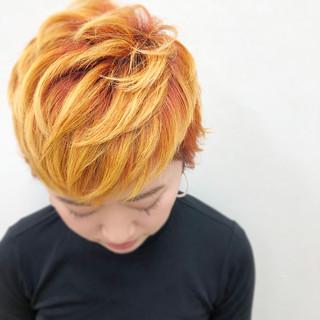 ハイトーン モード 個性的 オレンジ ヘアスタイルや髪型の写真・画像