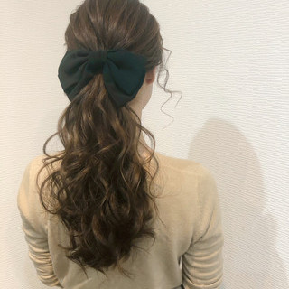 結婚式 ローポニーテール ロング ヘアセット ヘアスタイルや髪型の写真・画像