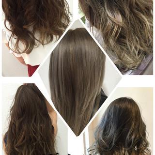 ヘアアレンジ ネイビーアッシュ イルミナカラー ナチュラル ヘアスタイルや髪型の写真・画像