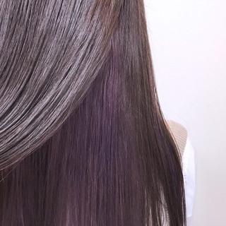 ロング インナーカラー ピンク パープル ヘアスタイルや髪型の写真・画像