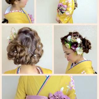 ヘアアレンジ 編み込み 成人式 コンサバ ヘアスタイルや髪型の写真・画像