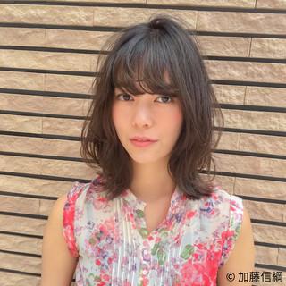 女子力 フェミニン ミディアム 外ハネ ヘアスタイルや髪型の写真・画像