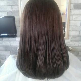 透明感 アッシュ セミロング グレージュ ヘアスタイルや髪型の写真・画像