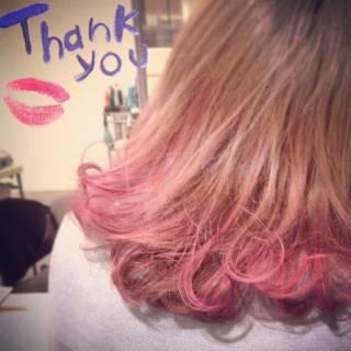 ピンク レッド ガーリー ストリート ヘアスタイルや髪型の写真・画像