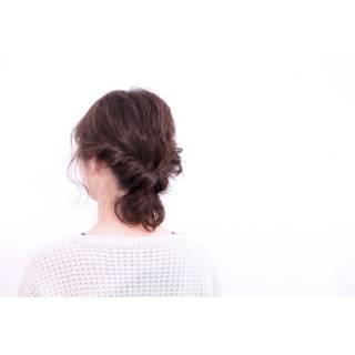 ナチュラル ヘアアレンジ ボブ 暗髪 ヘアスタイルや髪型の写真・画像