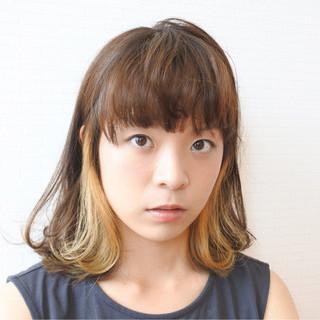 アッシュ ハイライト ガーリー 前髪あり ヘアスタイルや髪型の写真・画像