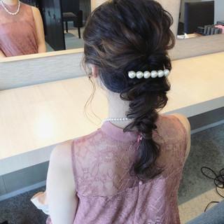 ヘアアレンジ 結婚式 編み込み ナチュラル ヘアスタイルや髪型の写真・画像