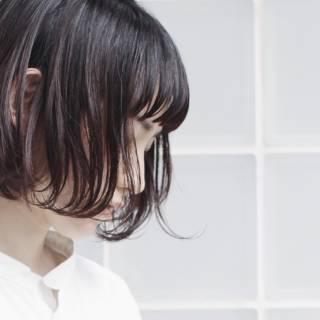 黒髪 ボブ 抜け感 束感 ヘアスタイルや髪型の写真・画像 ヘアスタイルや髪型の写真・画像