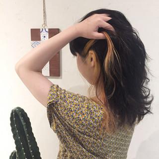 セミロング ナチュラル イエロー ヘアアレンジ ヘアスタイルや髪型の写真・画像 ヘアスタイルや髪型の写真・画像