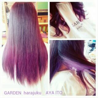 ピンク ストリート グラデーションカラー レッド ヘアスタイルや髪型の写真・画像