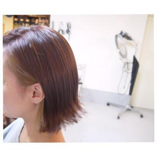 レッド 赤茶 ボブ インナーカラー ヘアスタイルや髪型の写真・画像
