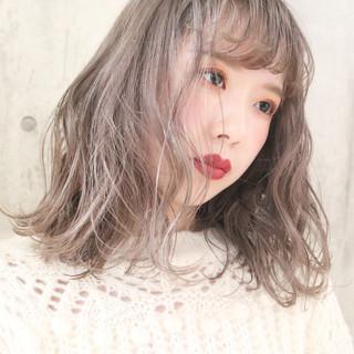 黒髪 シアーベージュ ミディアム 外国人風カラー ヘアスタイルや髪型の写真・画像