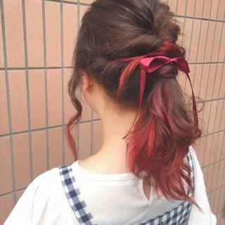 涼しげ 夏 ガーリー ミディアム ヘアスタイルや髪型の写真・画像
