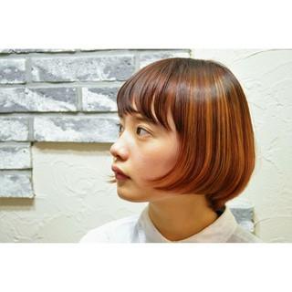 グラデーションカラー ボブ ハイライト ヘアアレンジ ヘアスタイルや髪型の写真・画像